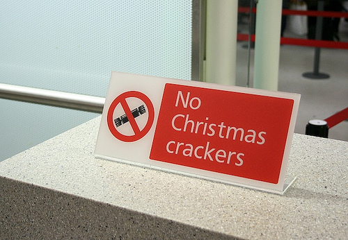 Christmas at the airport - don't bring the crackers!