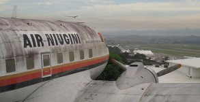 The view from the converted DC3 looking down towards Port Moresby airport