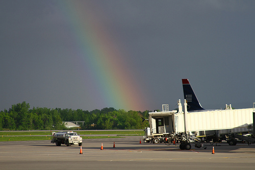 Rainbow over Syracuse Hancock Airport, New York