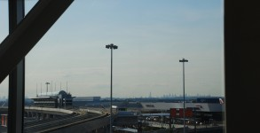 JFK's terminal 7 with the Manhattan skyline in the background