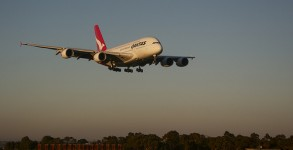 A Qantas A380 lands at Sydney Airport