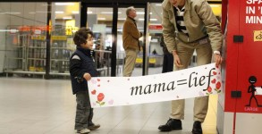 A banner freshly printed from the newly installed banner machine at Amsterdam Schiphol