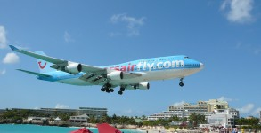 A Boeing 747 landing at Sint Maarten Airport in the Caribbean