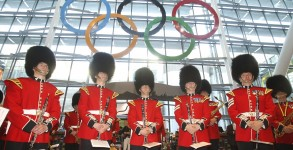 Giant Olympic rings at Heathrow's terminal 5 revealed