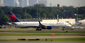 Delta plane and Atlanta skyline