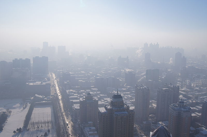 Heavy levels of smog in Harbin, China. December 2012.