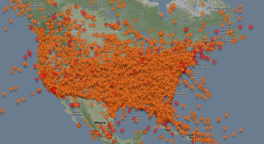 U.S. airspace on a Sunday night
